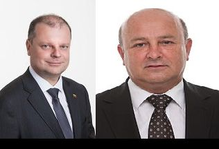 "Steigiamos partijos ""Vardan Lietuvos"" Lietuvos lyderis Saulius Skvernelis ir Kauno meras Visvaldas Matijošaitis."
